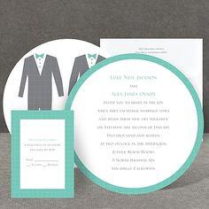 gay wedding invitation I patterned tuxes