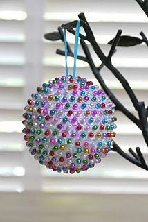DIY Sequined Ornament  with foam ball, sequins, and pins. I've made these for years! Fun for older kids to make their own designs.