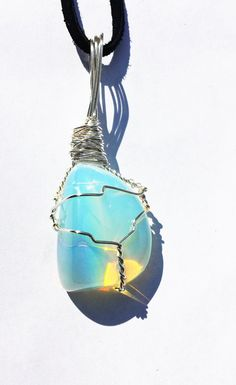 BRILLIANT Wire Wrapped OPALITE Healing Crystal Pendant Necklace ~  Third Eye Chakra ~ Reiki Infused OP0810
