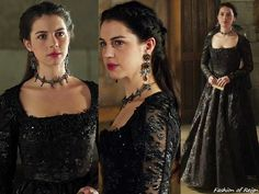 """In the episode 3x10 (""""Bruises That Lie"""") Queen Mary wears this Reign Costumes custom embellished brocade & lace inset dress. Worn with Erickson Beamon earrings, Rhondi Rocks Jewelry necklace, Gillian Steinhardt labyrinth and signet rings."""
