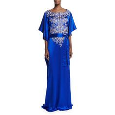 Carolina Herrera 3/4-Sleeve Embroidered Caftan Gown, Royal Blue offer >>>$$price $2,090.00 At : Top10dresses #Carolina-Herreradress #Carolina #Herrera #3/4-Sleeve #Embroidered #Caftan #Gown #Royal #Blue #offer