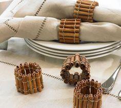 DIY Thanksgiving Napkin Rings w/ cinnamon sticks! Christmas Decorations Dinner Table, Decoration Table, House Decorations, Homemade Christmas, Christmas Diy, Christmas Ornament, Merry Christmas, Xmas, Christmas Napkins