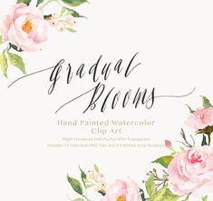 Watercolor flower Clip Art-Gradual by GraphicSafari on Etsy