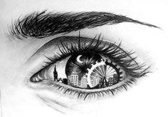 Eye Art with skyline & Ferris wheel Amazing Drawings, Cool Drawings, Drawing Sketches, Amazing Art, Dancing Drawings, City Drawing, Unique Drawings, Maze Drawing, Eye Sketch
