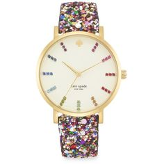 Kate Spade New York Goldtone Multicolor Interchangeable Glitter Strap... ($225) ❤ liked on Polyvore featuring jewelry, watches, bracelets, accessories, relogio, glitter multicolor, bezel bracelet, multi colored bracelet, gold tone watches and kate spade jewelry