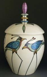 Ceramics by Clare Pousson & Mark Wolter. Hand painted porcelain with high-fired underglazes, they use wheelthrown, handbuilt and combination techniques Ceramic Boxes, Ceramic Jars, Ceramic Clay, Ceramic Pottery, Pottery Art, Earthenware, Stoneware, Painted Porcelain, Hand Painted