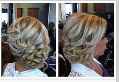 Wedding hair to the side so can be seen in front.