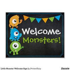 Little Monster Welcome Sign - birthday gifts party celebration custom gift ideas diy Little Monster Birthday, Monster 1st Birthdays, Monster Birthday Parties, Baby Boy 1st Birthday, First Birthday Parties, First Birthdays, Birthday Gifts, Alien Halloween, Diy Halloween Treats