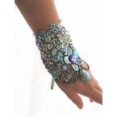 Mermaid Gypsy Bracelet, Aquamarine, Labradorite, Paua, Crystal,... ❤ liked on Polyvore featuring jewelry, bracelets, crystal jewelry, blue crystal jewelry, blue bangles, lace jewelry and bohemian jewelry