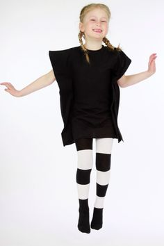 Kids fashion with Black & White tights