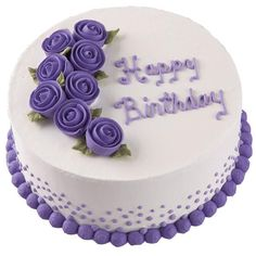 Vivid Violet Roses Cake - A perfectly-balanced bouquet of Ribbon Roses frames an elegant script message. Gives a sophisticated touch to a basic round cake.