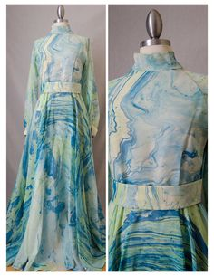70s Don Luis Vintage Blue Marbled Maxi by RedLightVintageShop