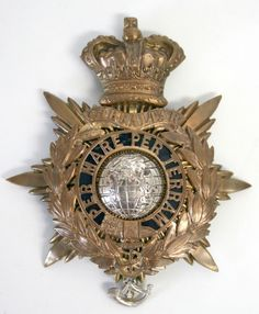 British; Royal Marines Light Infantry, Officer's Helmet plate, 1878-1901