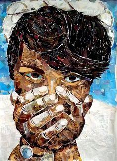 Jeg havde altid forbundet Collage med noget man lavede i børnehaven. Små børn med saks og papir. Det ville jeg gerne ændre og gik derfor igang med et rimelig ambitiøst værk hvor jeg ville bevise for migselv at collagen var en  kunstform der kunne bruges til meget.