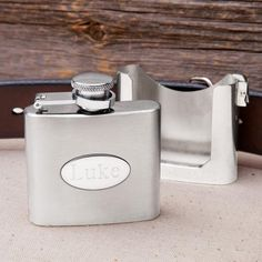 Engraved 2oz. Belt Buckle Flask & Holster