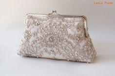 Elegant wedding Lace Silk Clutch in Pastel Pink/ Vintage inspired / wedding bag / bridesmaid clutch / Bridal clutch
