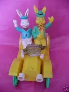 Vintage hard Plastic EASTER bunnies car candy container   #37318385