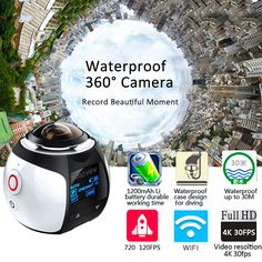 Action Camera WiFi 360 Camera Panorama Sport DV DVR Waterproof Digital Camcorder VR Video Cam For iphone xiaomi Lg Description: This product is Vr Camera, Mini Camera, Video Camera, Camcorder, Panorama Camera, Wifi, Iphone 6, Sports Camera, 4k Hd