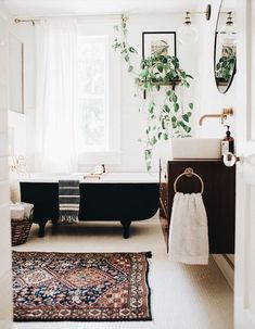 Tulsa Owen Park Sears Kit Home renovated bathroom. Vintage modern decor and house renovated bathroom. Vintage modern decor and house plants. Eclectic Bathroom, Boho Bathroom, Bathroom Interior, Bathroom Vintage, Bathroom Ideas, Bathroom Plants, 1920s Bathroom, Bathroom Remodeling, Paint Bathroom