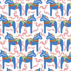 dala horses - blue fabric by ravynka on Spoonflower - custom fabric
