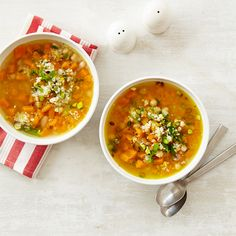 Healthy can totally be hearty and flavorful. Get the recipe for this  Butternut Squash and White Bean Soup.