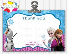 Frozen Thank You Card Frozen Note Card by BelleAmitieDesigns