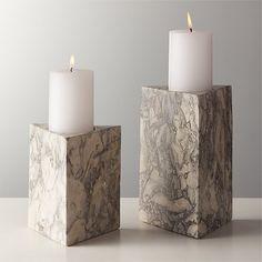 Unique Candle Holders, Unique Candles, Pillar Candle Holders, Candle Holder Set, Pillar Candles, Marble Pillar, Triangles, Tea Lights, Grey