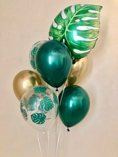Palm Leaf, Forest Green, Chrome Gold 11 inch Latex Balloons~Leaf Balloon~Wild One Party~Jungle Party~Aloha Party~Leaf Decor~Tropical Party Palm Leaf, Forest. Flamingo Party, Flamingo Birthday, Dinosaur Birthday Party, Luau Birthday, Women Birthday, Aloha Party, Luau Party, Beach Party, Jungle Party
