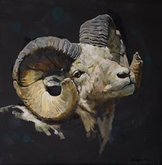 """My painting """"Aries"""" cm oil on canvas in private collection Wildlife Paintings, Wildlife Art, Animal Paintings, Big Horn Sheep, Sleeping Animals, Satanic Art, Eagle Art, Abstract Animals, Traditional Paintings"""