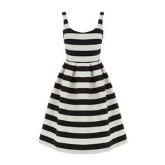 Warehouse Stripe Prom Dress (£35) ❤ liked on Polyvore featuring dresses, vestidos, black stripe, stripe dress, striped prom dress, striped sleeveless dress, scoop neck sleeveless dress and striped dresses
