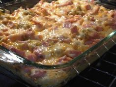 Breakfast Casserole - I made this without the meat. Was really good and even better the next day! I used one large bag of hash browns.