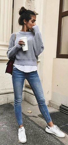 casual outfits for winter comfy ~ casual outfits ; casual outfits for winter ; casual outfits for work ; casual outfits for women ; casual outfits for school ; casual outfits for winter comfy Comfortable Fall Outfits, Casual Fall Outfits, Trendy Outfits, Fashion Outfits, Casual Winter, Sneakers Fashion, Fashion Clothes, Sneakers Style, Dress Casual