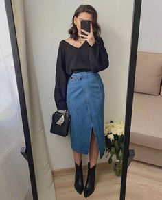 Tropical summer February 24 2020 at fashion-inspo Winter Fashion Outfits, Modest Fashion, Look Fashion, Korean Fashion, Fall Outfits, Fashion Clothes, Long Skirt Fashion, Modest Clothing, French Fashion