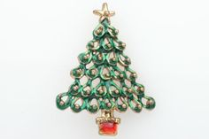 Christmas tree #brooch #vintage xmas #broach gold sweater pin 14h, View more on the LINK: http://www.zeppy.io/product/gb/2/301837481079/