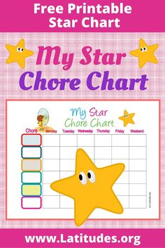 How to use this chore chart This useful weekly star chore chart is designed for focusing on several activities or behaviors during the course of one week. Printable Star, Free Printables, Star Chart, Special Needs, Kids And Parenting, Activities, Stars, Autism, Free Printable