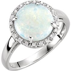14kt White Gold Opal & .07 CTW Diamond Ring
