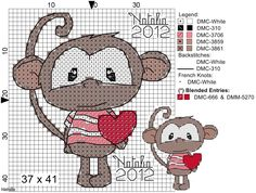 Gabe and Gregs room monkey cross stitch Cross Stitch For Kids, Cross Stitch Heart, Cross Stitch Cards, Cute Cross Stitch, Cross Stitch Borders, Cross Stitch Animals, Cross Stitch Designs, Cross Stitching, Cross Stitch Embroidery