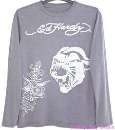 Ed Hardy Mens Tee Shirt Cotton Tiger Long Sleeve Crew Gray Christian Audigier S  #EdHardy #GraphicTee
