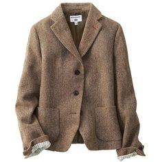 UNIQLO Ines Soft Tweed Jacket ($105) ❤ liked on Polyvore featuring outerwear, jackets, brown, brown jacket, print jacket, vintage jackets, fleece-lined jackets and vintage tweed jacket