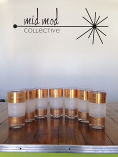 Vintage drink glasses with white and gold texture. Available at Mid Mod Collective. Email midmodcollective@gmail.com for more info. SOLD!