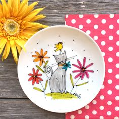 Painted Ceramic Plates, Hand Painted Pottery, Hand Painted Ceramics, Ceramic Art, Dot Art Painting, Pottery Painting, Pottery Art, White Porcelain Tile, Porcelain Clay