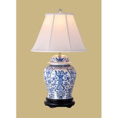 "East Enterprises Inc 29"" H Temple Jar Table Lamp with Bell Shade"