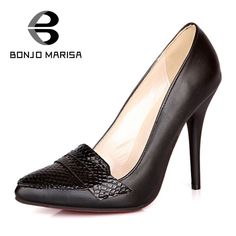 BONJOMARISA 2017 New Sexy Snakeskin Pattern PU High Heel Woman Shoes Mature Big Size Brand Thin Heel Black White Pumps Women - buy from estivmy.co.uk (also in white)
