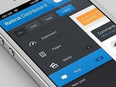 Mobile flyout menu designed by Lee Grant. Web Design, Flat Design, Layout Design, Design Ideas, Graphic Design, Lee Grant, Mobile Application Design, Mobile Design, Flat Ui