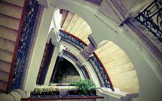 A lépcsőház felülnézetben