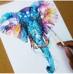 Watercolor elephant