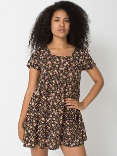 rsarch302p - Printed Rayon Babydoll Dress