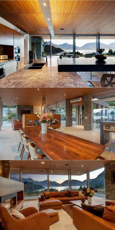 love the wood and stone combo in the middle picture