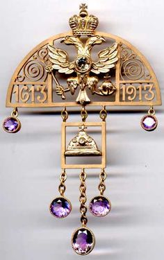 "Brooch, ""the 300th anniversary of the Romanov dynasty,"" made by Faberge. Gold, diamonds, diamonds, amethysts"