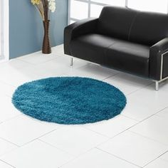 Ultima Shaggy Round Rugs in Duck Egg - Free UK Delivery - The Rug Seller
